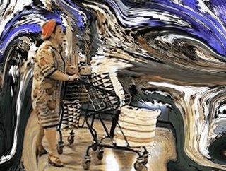 foto artistica de Carlos Neri, pasajera en Barajas con el fondo estallado de colores