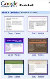 foto de los templates de google pages creator