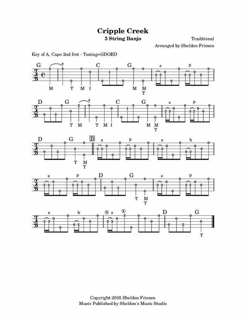 Tablature u0026 Sound Files : Bluegrass Banjo Sheldon Friesen