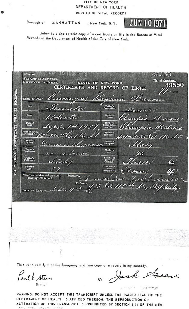 The Quest for Matisse: Vincenza Virginia Barone Birth Certificate