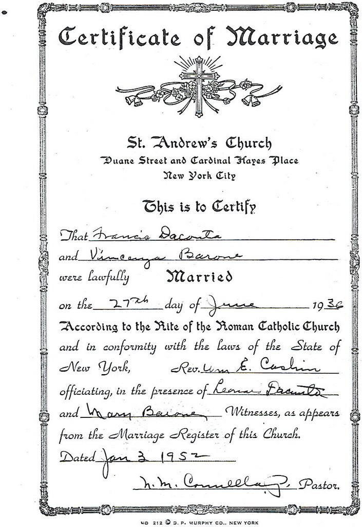 The Quest for Matisse: Certificate of Marriage