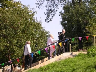 The Mayor and Phil Harding take one of the history walks up the new steps