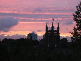 Sunset over Stockport, viewed from the Old Rectory