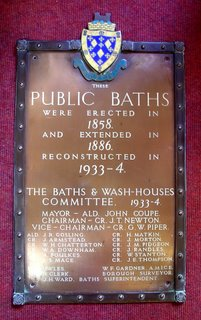 Stockport Baths brass plaque