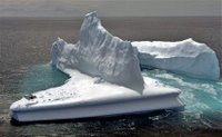 Helicopter landing on our iceberg.