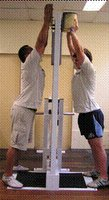 A prototype of the JumpTruk being used to develop lifting power and coordination of lineout support players