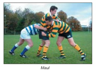 Players entering maul binding at waist height and above