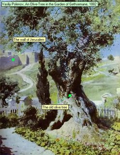 Vasiliy Polenov, An Olive-Tree in the Garden of Gethsemane, 1882 The wall of Jerusalem The old olive tree