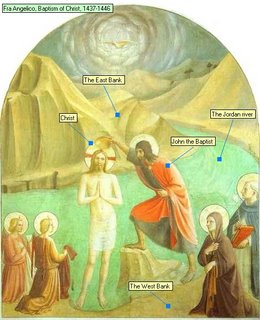 Fra Angelico, Baptism of Christ, 1437-1446 The Jordan river The East Bank The West Bank Christ John the Baptist