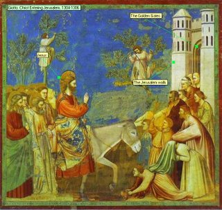 Giotto. Christ Entering Jerusalem, 1304-1306 The Golden Gates Jesus The Jerusalem walls