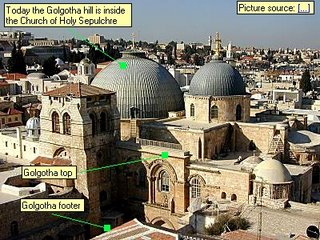 Today the Golgotha hill is inside the Church of Holy Sepulchre Golgotha footer Golgotha top Picture source: