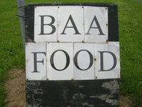 pub sign saying Baa Food