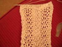 cream silk feather and fan pattern lace scarf
