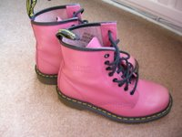 pair of pink Doc Martin Boots,black laces