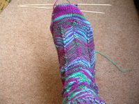 sock knitted from space-dyed yarn,modelled on foot knitting needles still in place on toes.