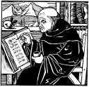 Monk and manuscript