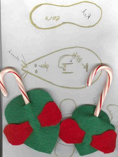 Easy christmas craft felt and candy cane mice the for Easy christmas felt crafts