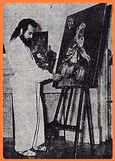 Dr. De La Ferriere dando los ultimos toques al cuadro de Jacques de Molay