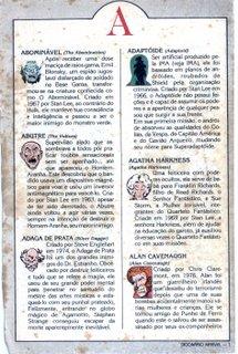 O Dicionário Marvel saía nas páginas dos formatinhos da Abril