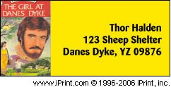 sample address label for my good buddy thor over at danes' dyke