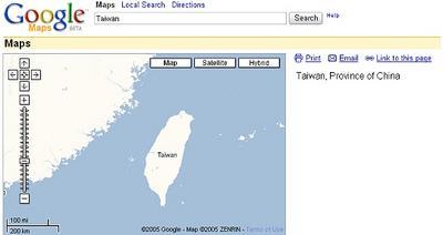 在 Google Maps 中查到的台灣
