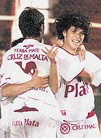 Huracán Ben Hur (Rafaela): festejo del gol, Leandro Grimi con peluca