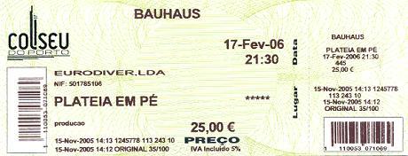 Bilhete Bauhaus