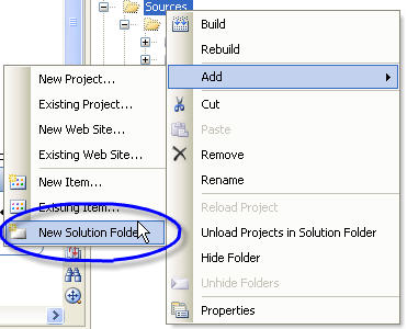 Add folder to VS2005 solution