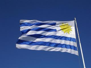 Uruguay's flag waving in the wind