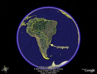 Uruguay in the world map