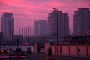 Tianjin China Sunset In Town