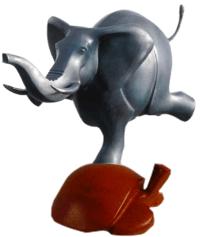 Weltanschauung: elefante indio practicando gimnasia española