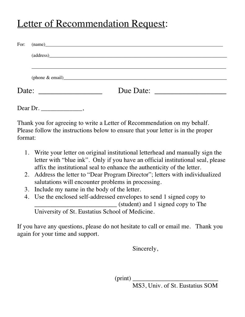 how to ask for letter of recommendation residency