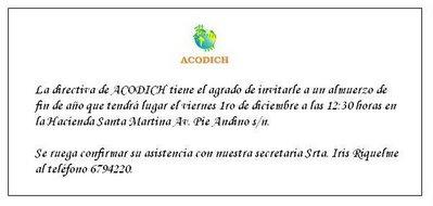 Acodich Invitacion Al Almuerzo De Fin De Ano