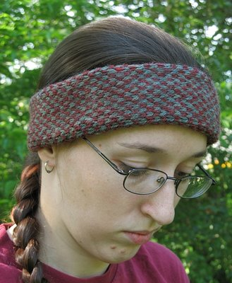 red and green fair isle headband