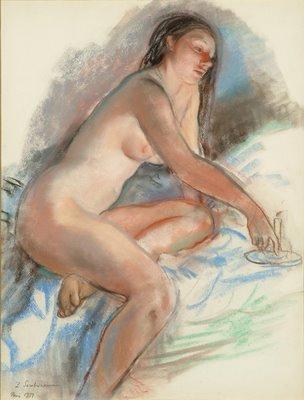 Zinaïda Evguenievna Serebriakova (1884-1967) Nude, Pastel on Ingres paper, 25x19