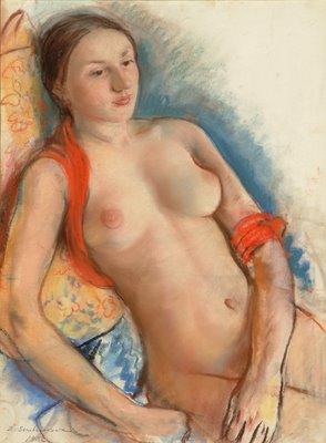 Zinaïda Evguenievna Serebriakova (1884-1967) Nude, Pastel on Ingres paper, 22x17