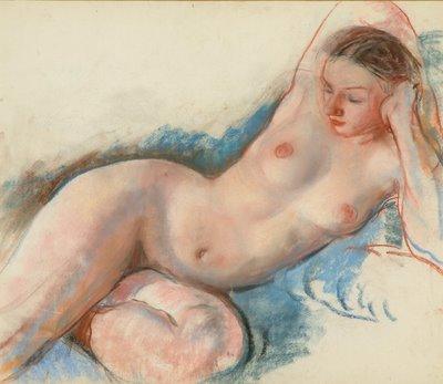 Zinaïda Evguenievna Serebriakova (1884-1967) Nude, Pastel on Ingres paper, 19x22