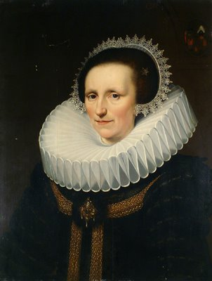 Jan Anthonisz Van Ravesteyn (1570-1657) Portrait of a noble woman at the age of 43, Oil on wood panel, 1625, 26.75x21