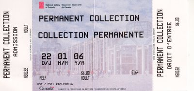 My ticket stub from the National Gallery of Canada