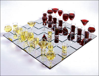 A reconstruction of André Breton and Nicolas Calas's wine-glass chess set.