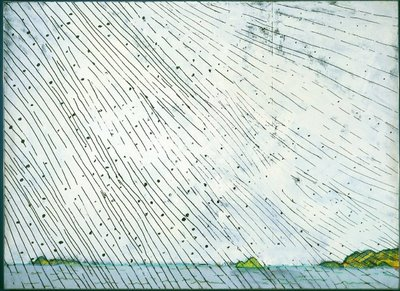 Paterson Ewen, Rain over Water, 1974, acrylic on panel, 244 x 336 cm, collection of Museum London