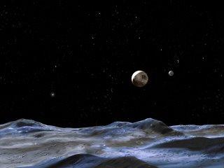 Recreación de Plutón y sus dos nuevas lunas