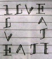 love hate love hate ambigram quadrilateral