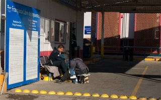 Mexican Customs officer getting his shoes shined