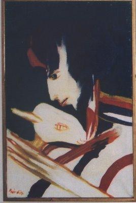 Olio su tela del 1967 di Remo Brindisi intitolato Pastorale (dimensione 30x20) numero dell'archivio fotografico generale A1408.