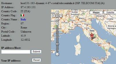 Geotool localizza su una mappa il tuo IP