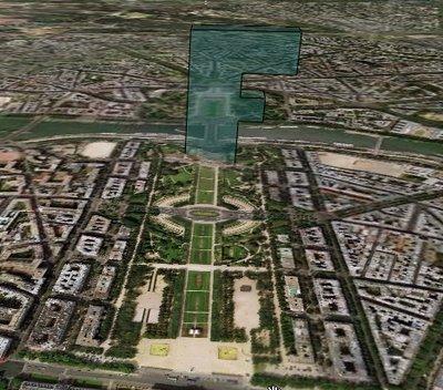 Paris: Eiffel Tower in a big F. Internet installation of Fabrizio Pivari