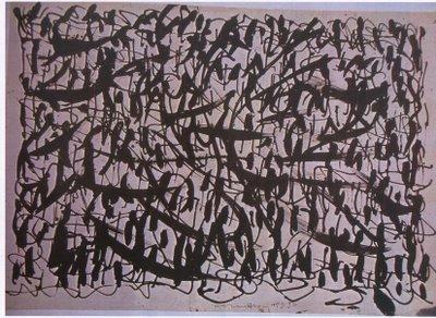 China a pennello e penna bambù su carta intelata del 1950 di Arturo Carmassi intitolato Segni dimensione 50x70