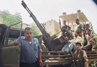 Hizbullah terrorists manning heavy machine gun truck inside Lebanon - via Chris Link at the Herald Sun of Australia